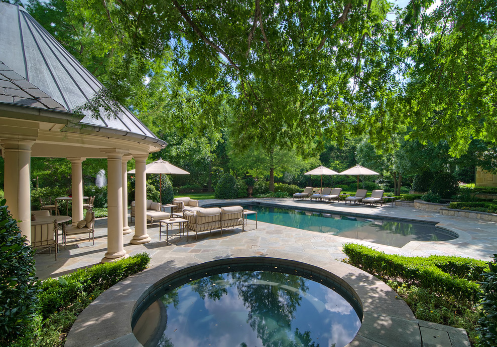 Market Umbrellas Landscape Traditional with Aquatic Covered Patio Hardscape Hedges Hot Tub Landscape Lounge Chairs Pavers Pool