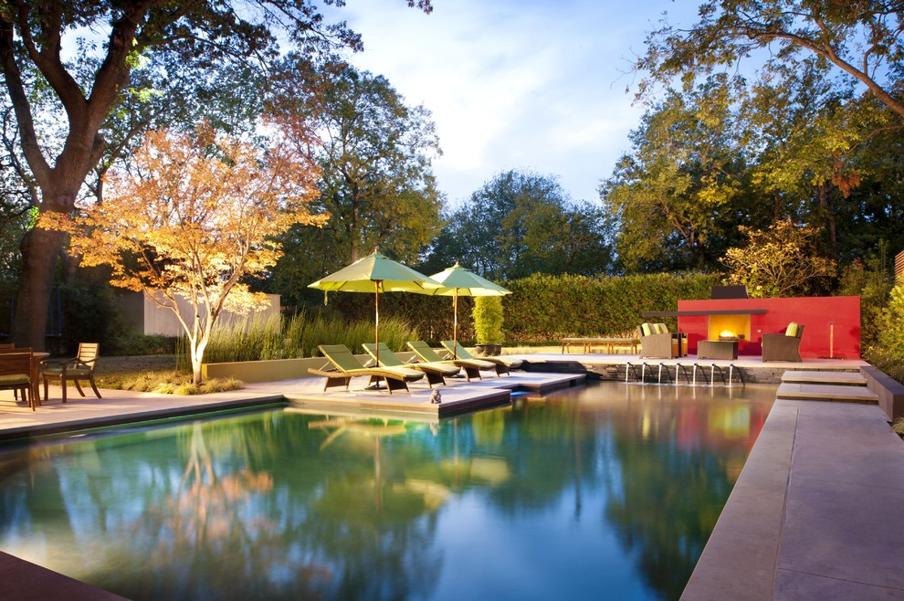 Market Umbrellas Pool Contemporary with Chaise Longue Chaise Lounge Colorful Accents Concrete Paving Custom Pool Dallas Fountain