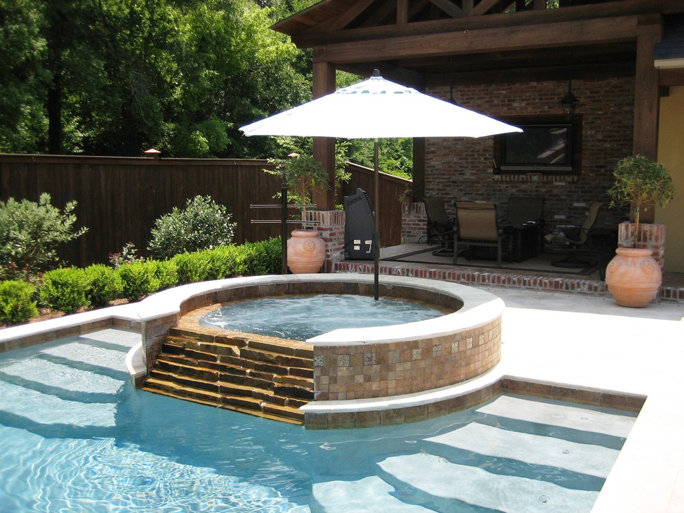 market umbrellas Pool Traditional with brick covered patio hot tub outdoor lounge outdoor TV Patio Pool potted