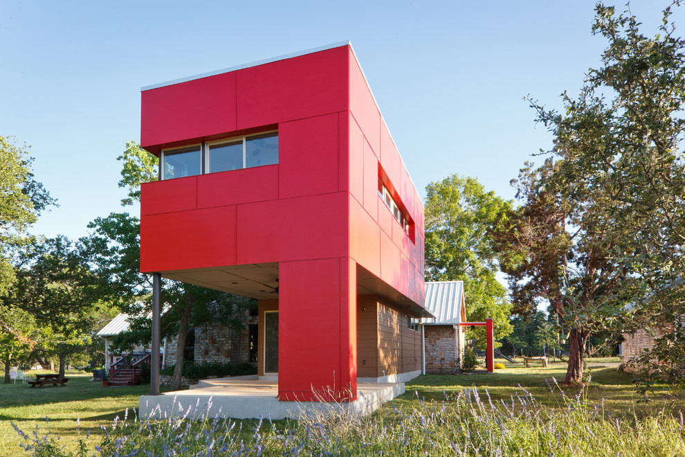 Martex Sheets Exterior Contemporary with Awning Windows Cantilevered Cement Board Clean Lines Color Concrete Slab Contemporary Cubist
