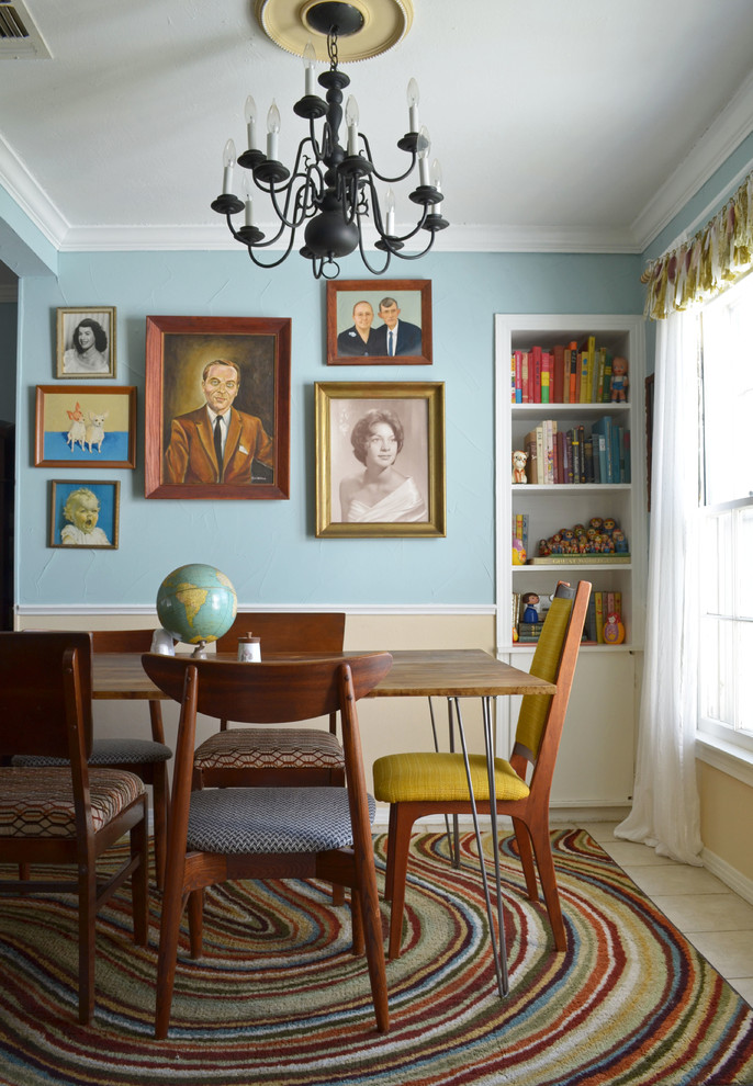 martha stewart rugs Dining Room Eclectic with 1950s Art beige wainscoting bright rug crown molding kitsch retro retro furniture