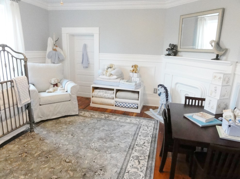 martha stewart rugs Nursery Traditional with area rug blanket storage corner fireplace crown molding floral rug glider chair