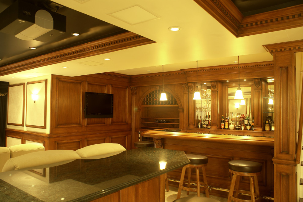 Marvel Wine Cooler Basement Traditional with Applied Molding Bar Barrom Cue Rack Custom Wood Bar Custom Made Display Boxes
