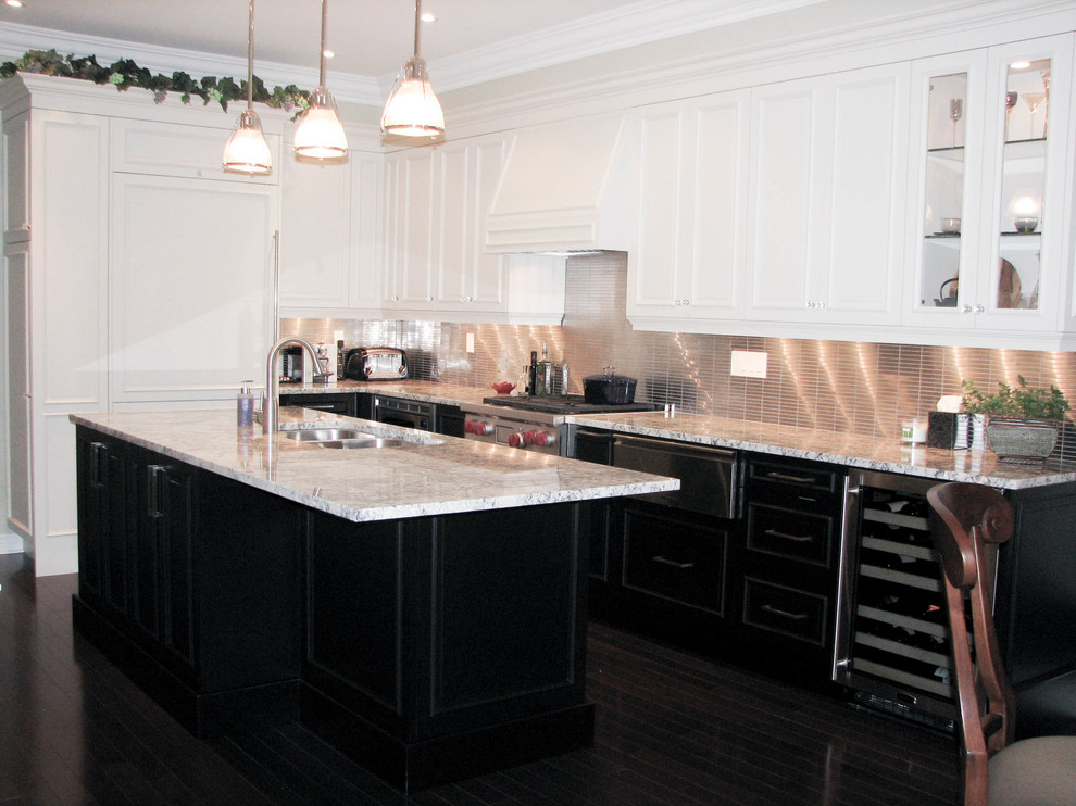 Marvel Wine Cooler Kitchen Traditional with Black Cabinets Custom Cabinets Dacor Granite Counter Tops Island Stainless Steel Backsplash