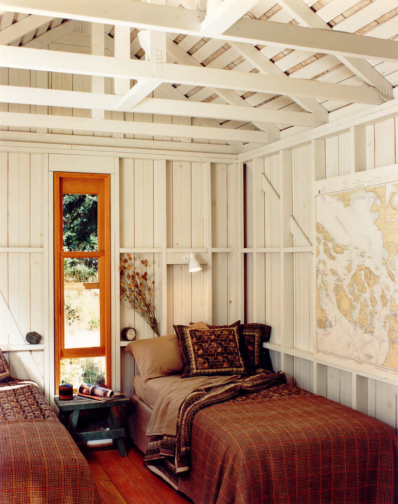Masculine Bedding Bedroom Rustic with Built in Shelves Cabin Cottage Decorative Pillows Exposed Beams High Ceilings Map
