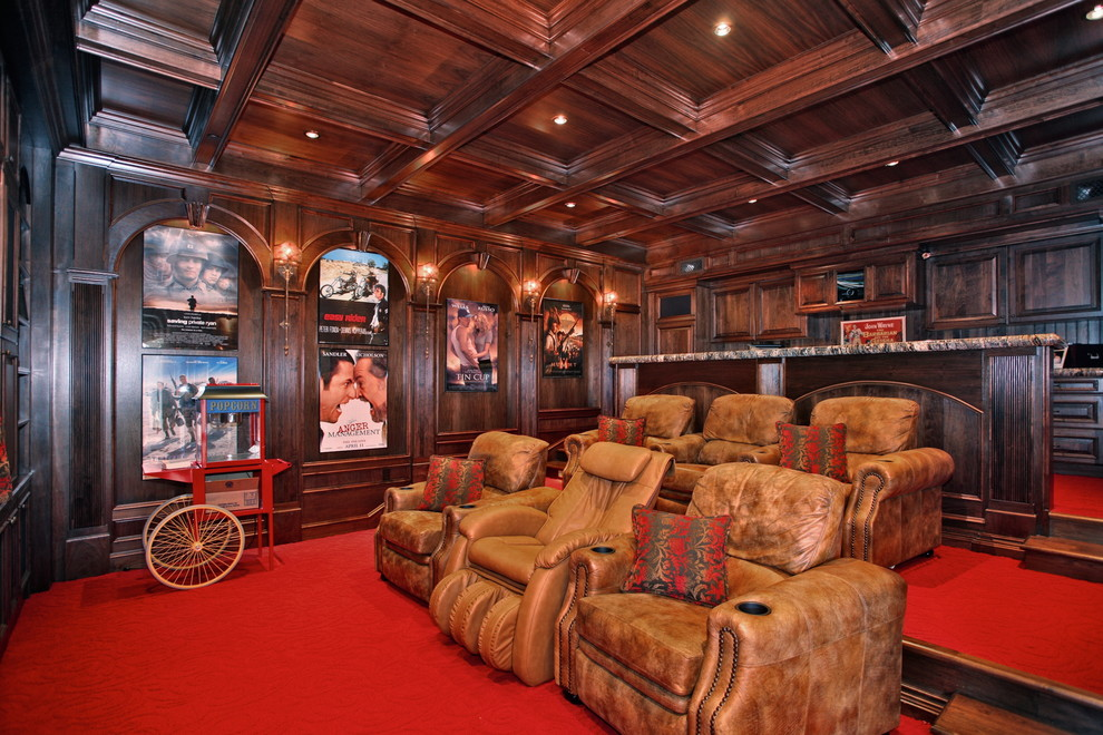Massaging Chair Home Theater Traditional with Ceiling Lighting Coffered Ceiling Film Posters Home Theater Leather Recliners Movie Posters