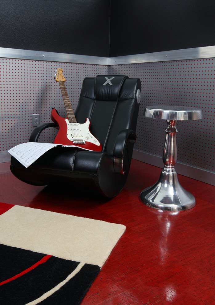 massaging chair Kids Industrial with Bedroom bold colors dark wall end table guitar industrial leather recliner pedestal