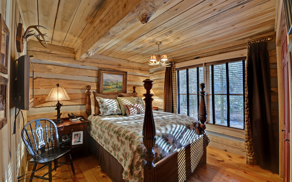 Matelasse Bedding Bedroom Rustic with Black Chair Blue Ridge Cabins Dark Brown Curtains Envision Virtual Tours Four