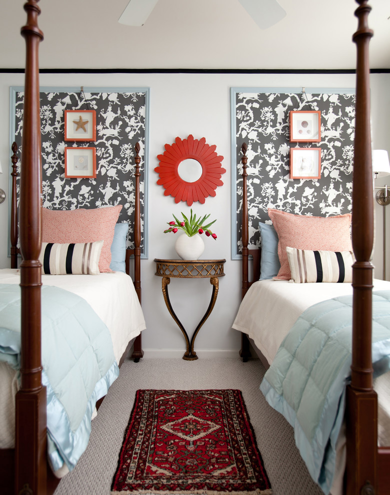 Matelasse Coverlet Bedroom Transitional with 4 Poster Bed Black Striped Pillows Chinoiserie Demilune Table Four Poster Beds Graphic Patterns