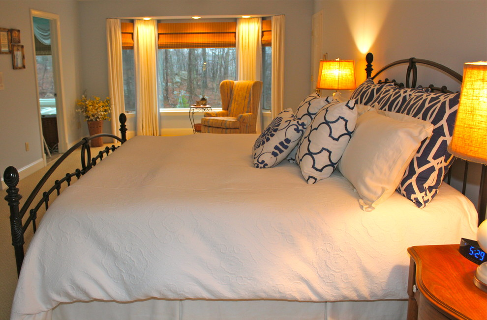 Matelasse Duvet Cover Bedroom Traditional with Beacon Hill Fabric Benjami Moore Sheer Bliss Blue Walls Custom Draperies Dust2
