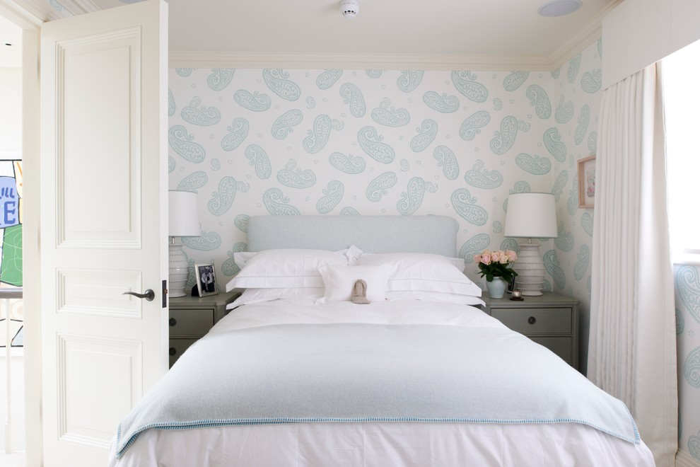 Mattress Topper Bedroom Transitional with Blue and White Paisley Wallpaper Chelsea Chic Contemporary Cozy Elegant Gray Nightstands