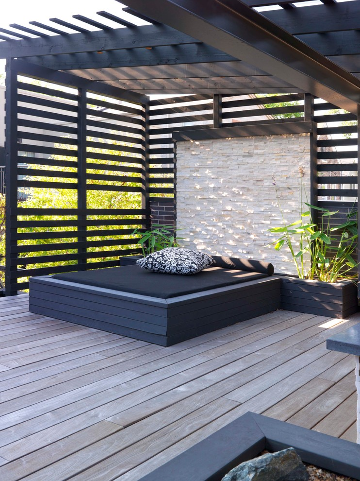 Mattress Topper Deck Contemporary with Outdoor Lounge Planters Plants Stone Wall