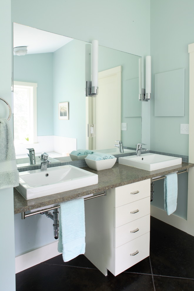 medline wheelchairs Bathroom Contemporary with above counter sinks blue blue and white blue towels blue walls brown