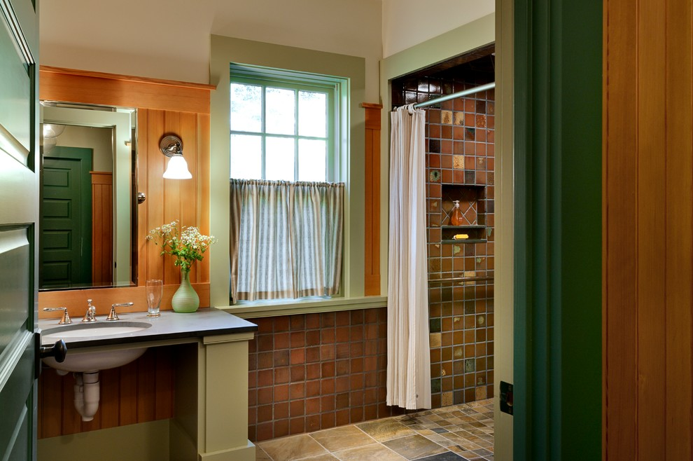 Medline Wheelchairs Bathroom Rustic with Cafe Curtain Elegant Gracious Green Painted Wood Niche Oval Sink Panel Door