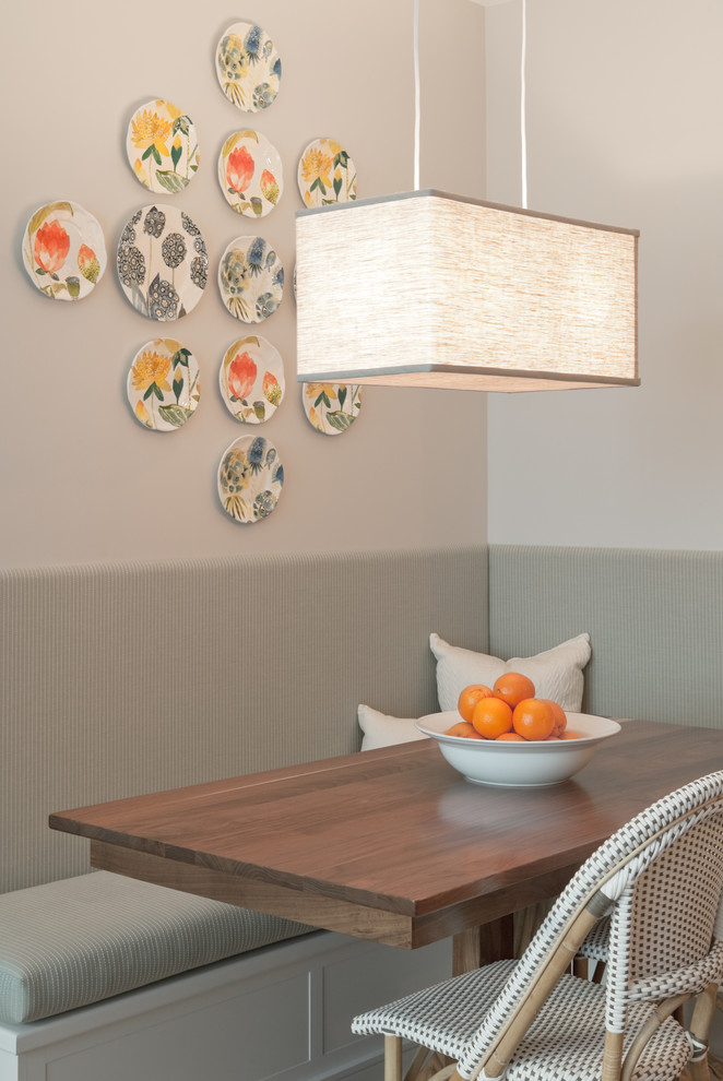 Melamine Dinner Plates Dining Room Transitional with Breakfast Area Built in Bench Corner Nook Plates on Wall Rectangular Pendant