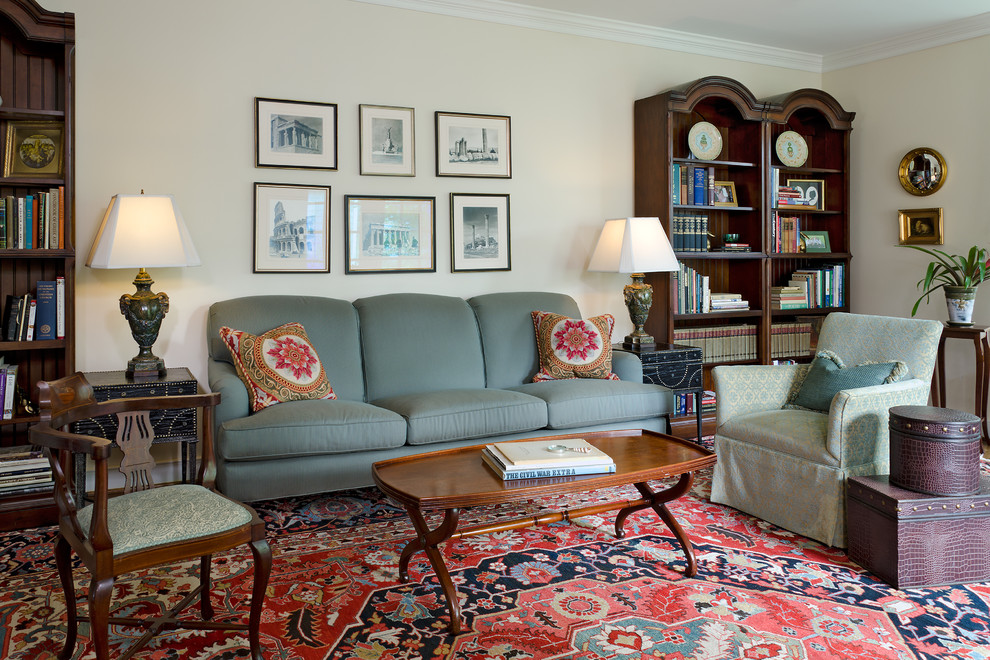 Memory Foam Rug Family Room Traditional with Blue and Red Bookshelves Dark Stained Wood Family Friendly Furniture Gilt Frames