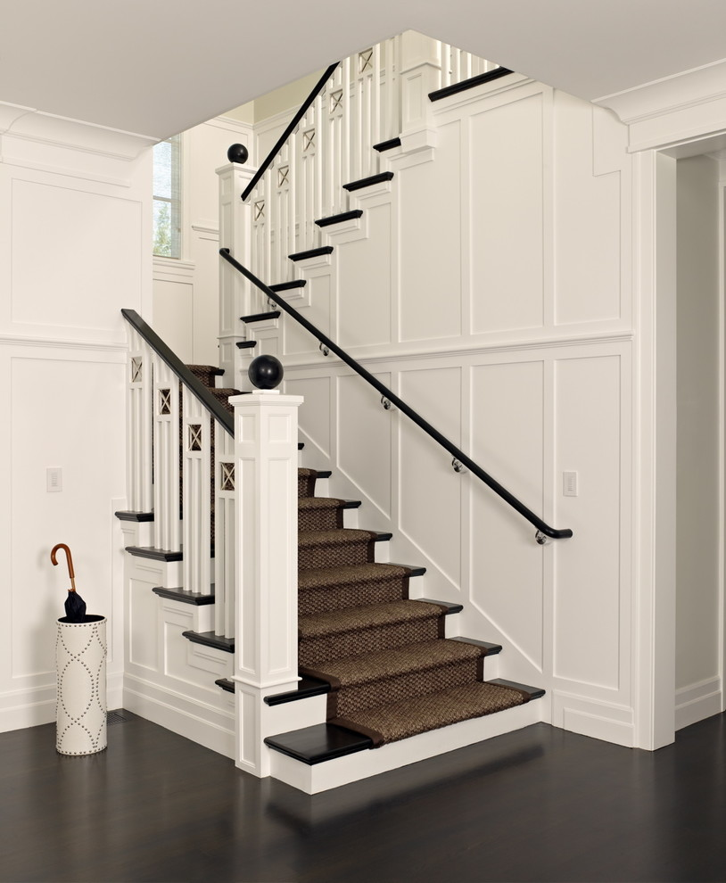 Memory Foam Toppers Staircase Victorian with Banister Detail Baseboards Dark Floor Landing Runner Umbrella Stand White Wood Wood