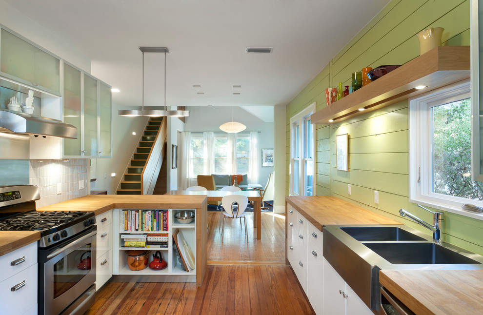 Mens Apron Kitchen Contemporary with Double Sink Green Backsplash Green Feature Wall Iconic Dining Chairs Medium Wood