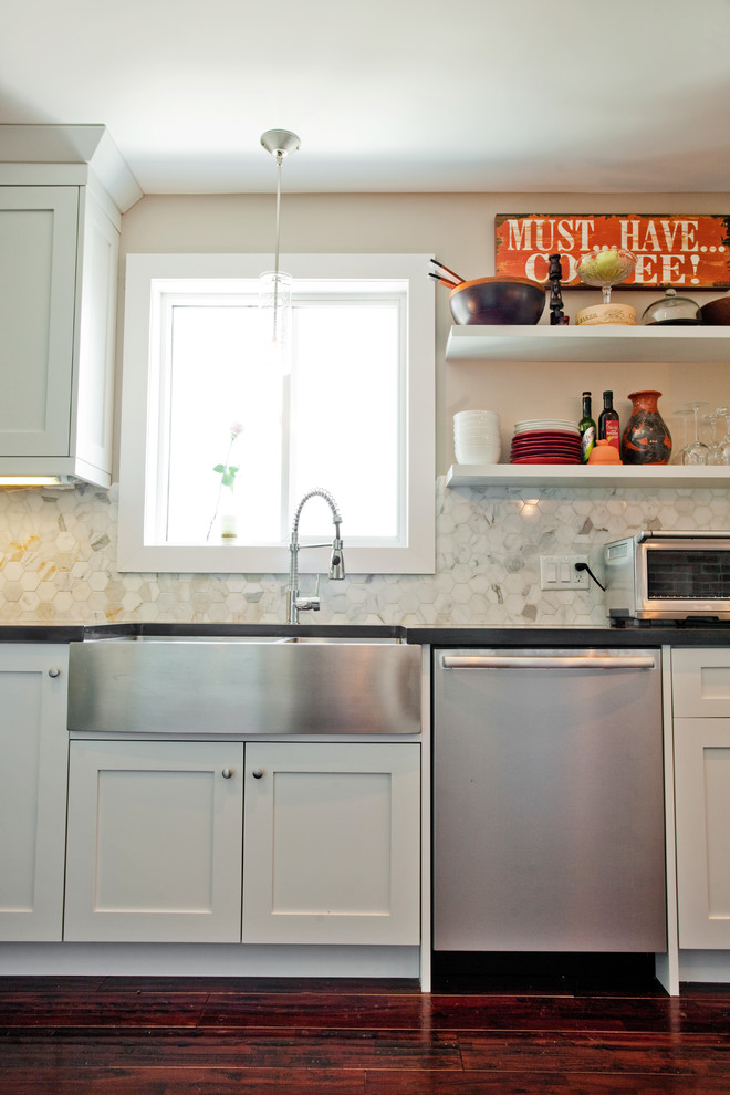 Mens Apron Kitchen Eclectic with Black Granite Brick Wall Calacatta Backsplash Custom Cabinetry Farmhouse Sink Frosted Glass