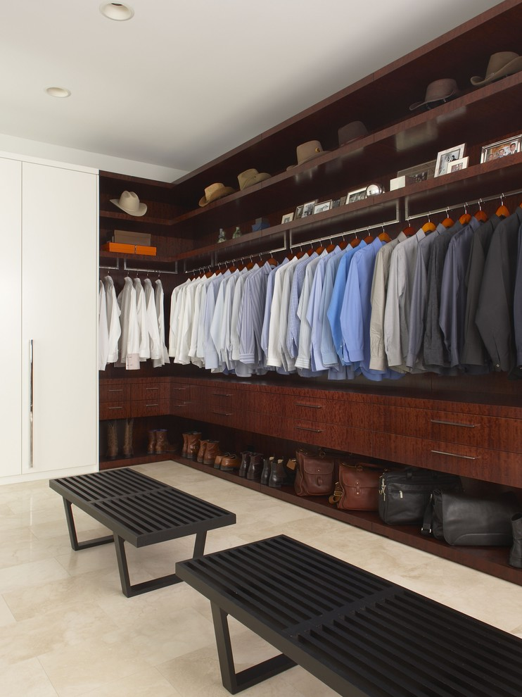 mens comforters Closet Contemporary with dark stained wood hats Men's Closet tile floor walk in closet white