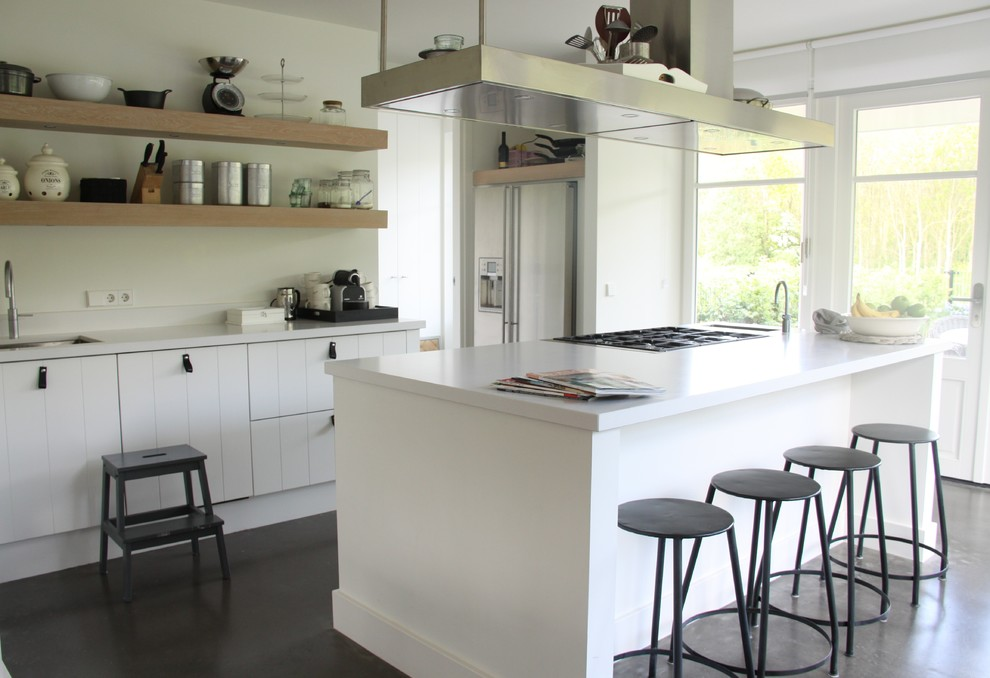 Metal Bar Stool Kitchen Contemporary with Concrete Floor Floating Wood Shelves Hood Kitchen Island Light and Bright Metal