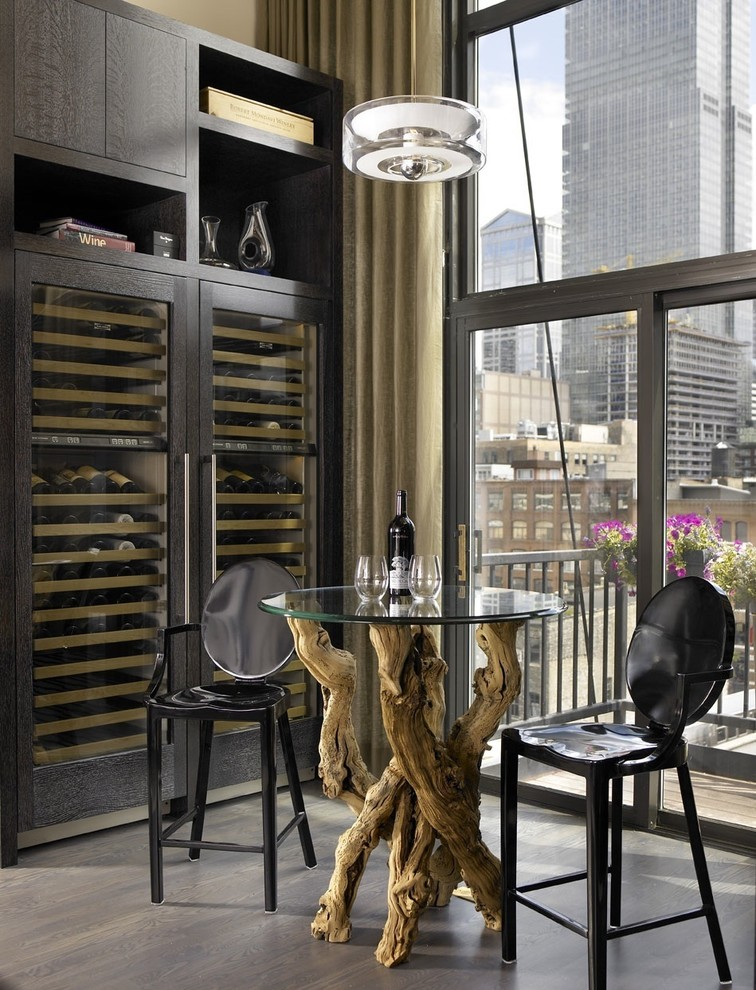 Metal Bar Stool Wine Cellar Industrial with Balcony Bar Table Dark Floor High Ceilings Modern Icons Neutral Colors View