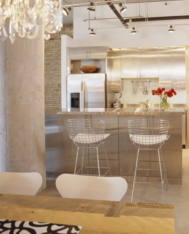 Metal Barstools Kitchen Contemporary with Brick Butcher Block Table Concrete Floor High Ceilings Linear Suspension Light Loft
