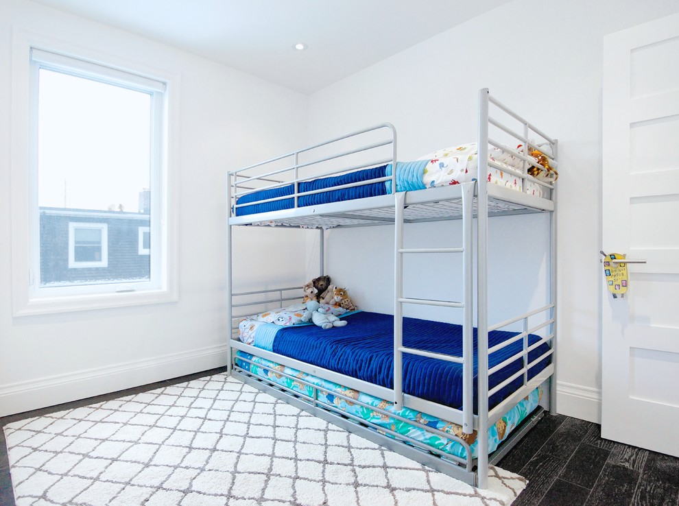 metal bunk beds Kids Contemporary with black and white black floors Black Hardwood blue bedding bright blue bunk