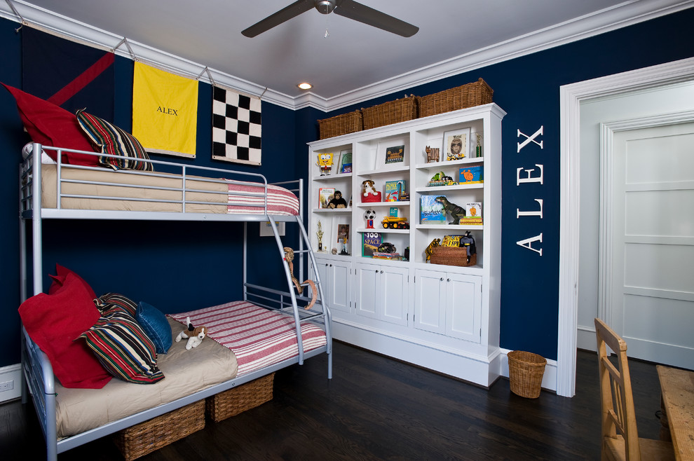 Metal Bunk Beds Kids Traditional with Art Lighting Black Walls Bookcase Brick Arch Brick Exterior Built in Crown