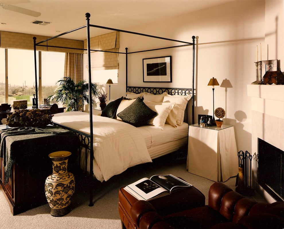 Metal Canopy Bed Bedroom Eclectic with Fabric Covered Night Tables Fireplace in Bedroom Master Bedroom Metal Canopy Bed