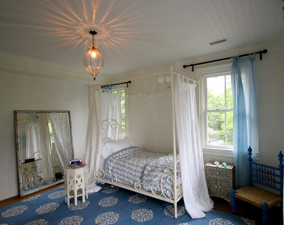 Metal Canopy Bed Bedroom Traditional with Accent Table Bed Curtains Blue and White Bedding Blue Area Rug Blue