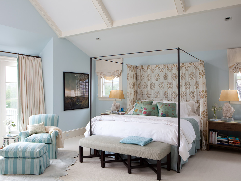 metal canopy bed Bedroom Transitional with animal hide area rug aqua blue bed curtains Block print curtains canopy