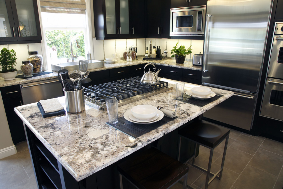 Metal Counter Stools Kitchen Contemporary with Backsplash Contemporary Style Countertops Custom Cabinets Granite Countertops Hanging Light Fixtures Hardwood