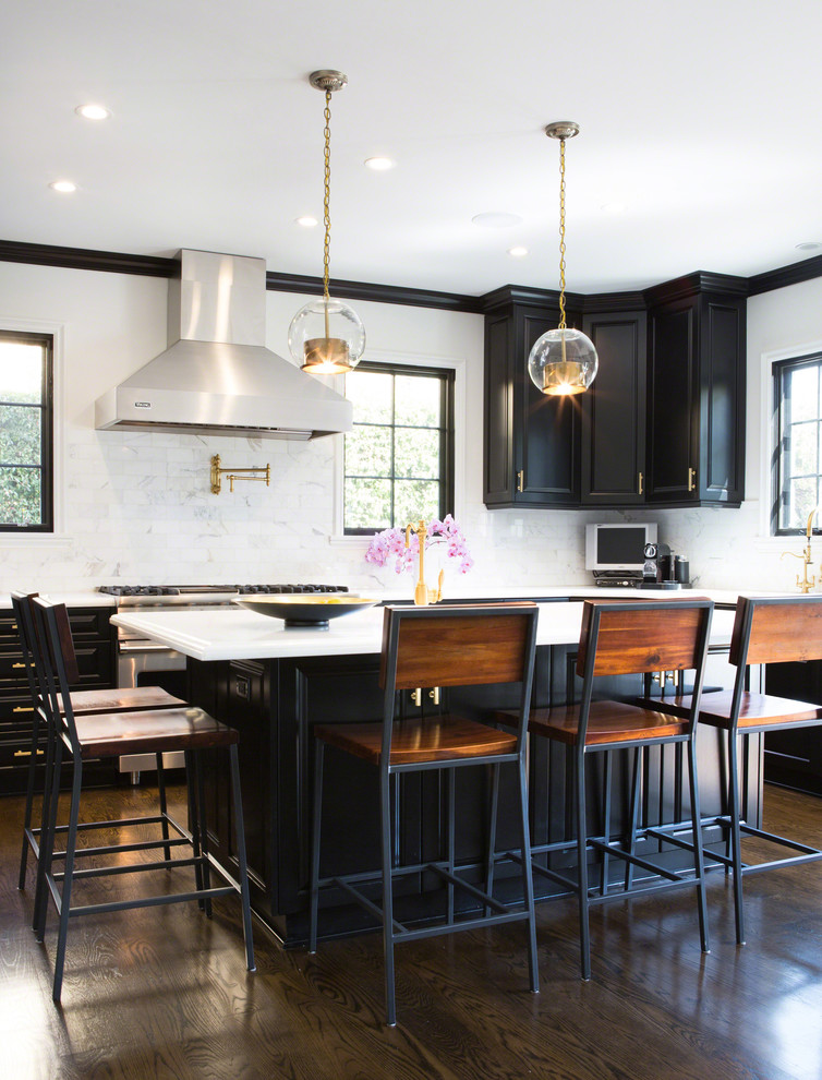 Metal Counter Stools Kitchen Transitional with Black Cabinets Black Kitchen Island Chair Back Counter Stools Glass Globe Pendants