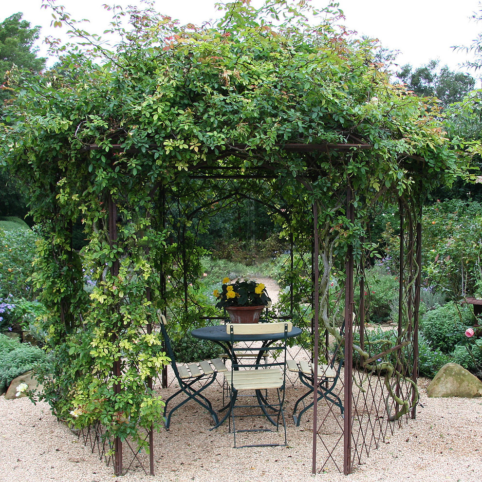 Metal Gazebo Patio Shabby Chic with Bistro Table and Chairs Cafe Set Chairs Climbing Plants Climbing Roses Climbing