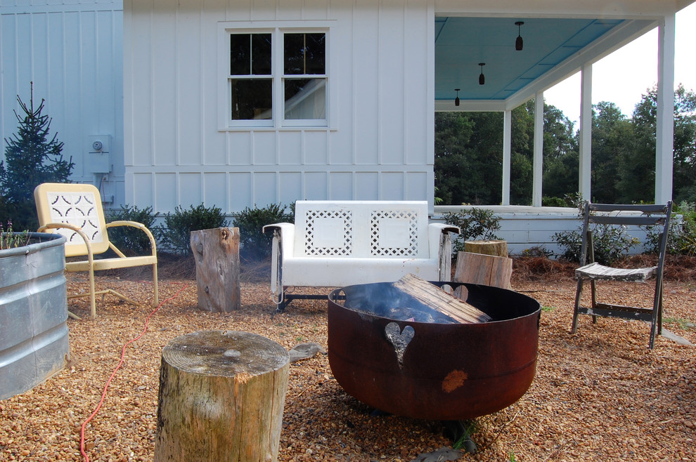 Metal Glider Patio Shabby Chic with Board and Batten Siding Container Container Gardening Covered Porch Eclectic Chairs Farmhouse