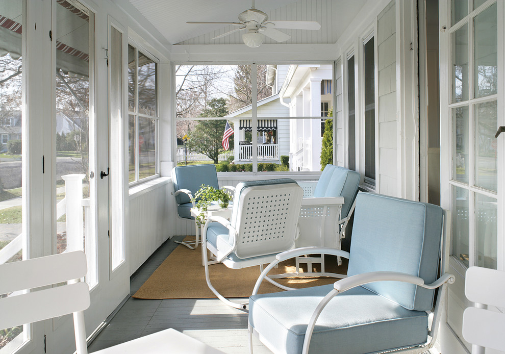 Metal Glider Porch Beach with Area Rugs Beach House Beadboard Ceiling Fan Contemporary Furniture Mid Century Modern Porch