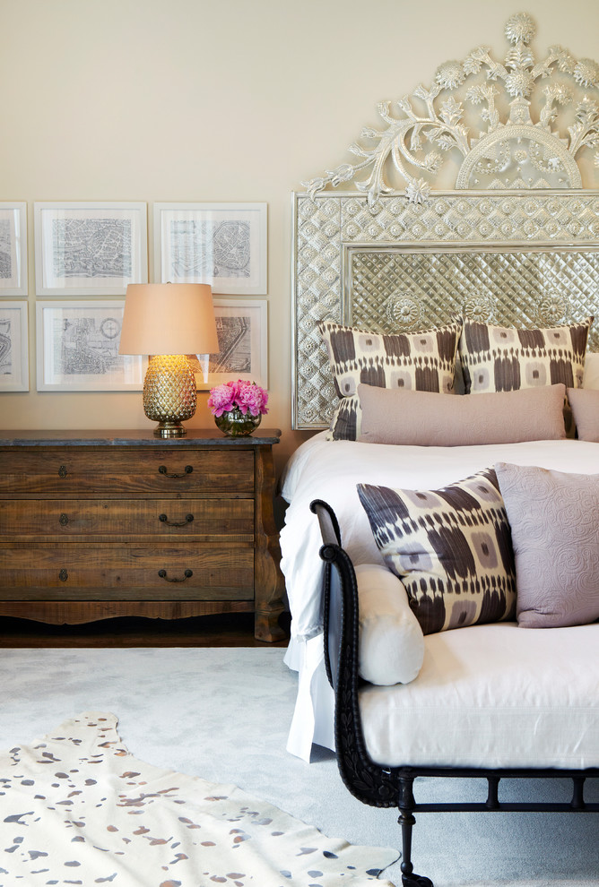 Metal Headboard Bedroom Transitional with Animal Hide Rug Beige Bedding Beige Wall Chango Co Design Gold Table