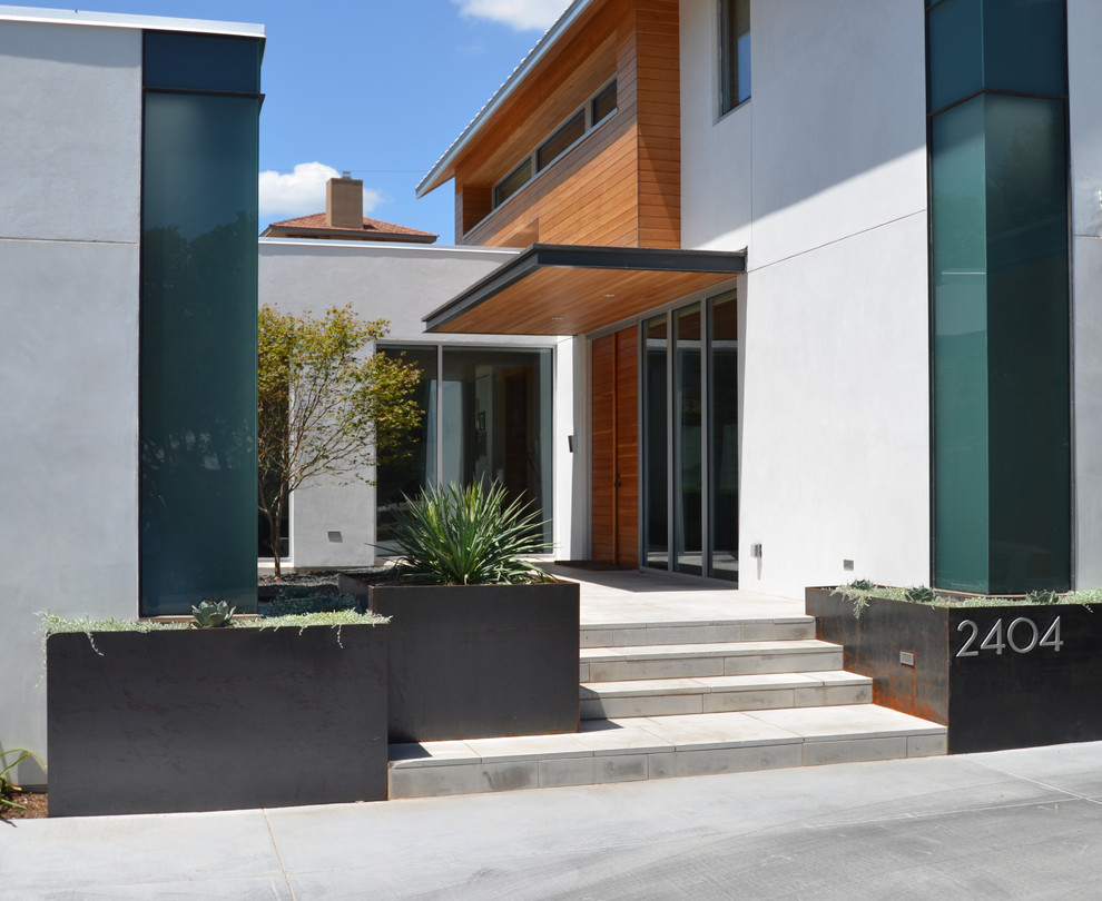 Metal Planter Exterior Modern with Address Numbers Cantilevered Douglas Fir Front Door Planter Boxes White Stucco Wood