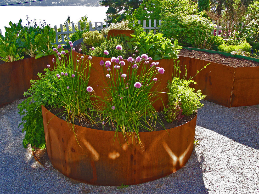 Metal Planter Landscape Industrial with Coastal Container Plants Corten Curve Edible Garden Gravel Herb Garden Path Permeable