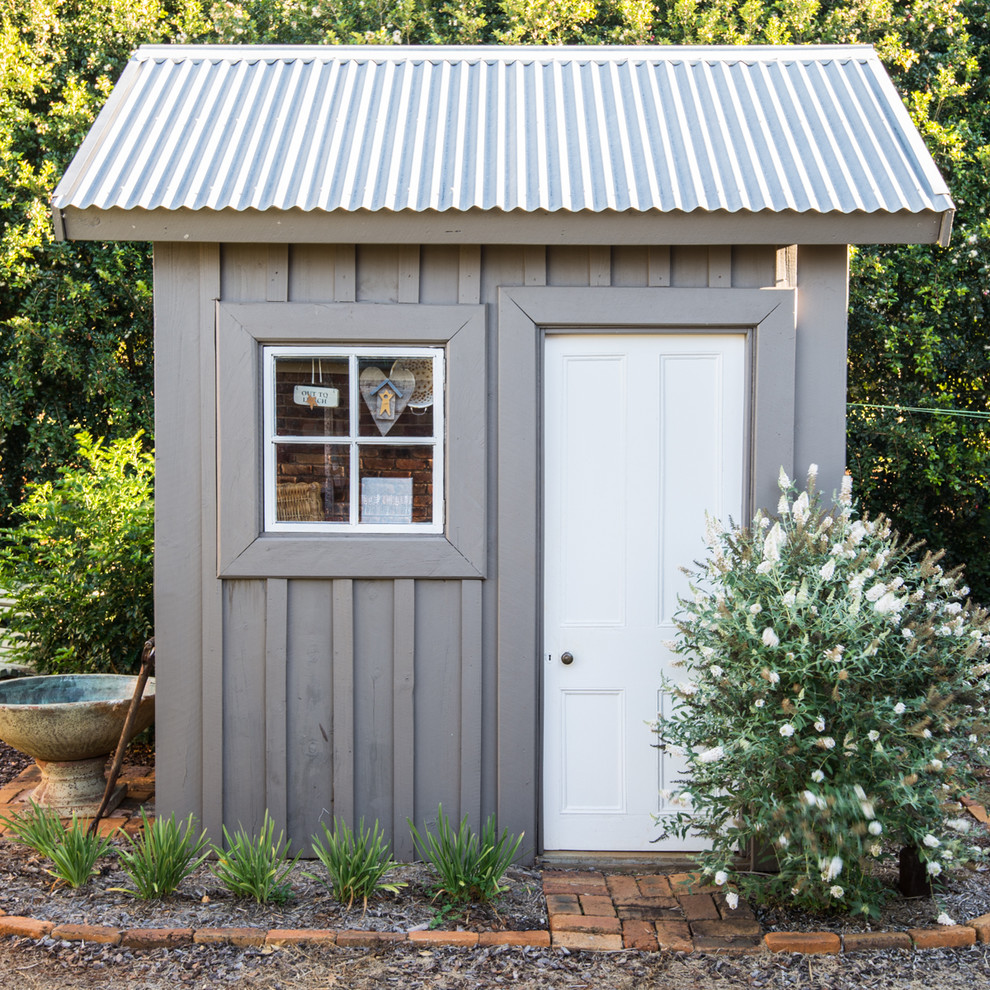 Metal Sheds for Sale Garage and Shed Farmhouse with Board and Batten Siding Corrugated Metal Roof Cute Shed Flowering Shrub Four