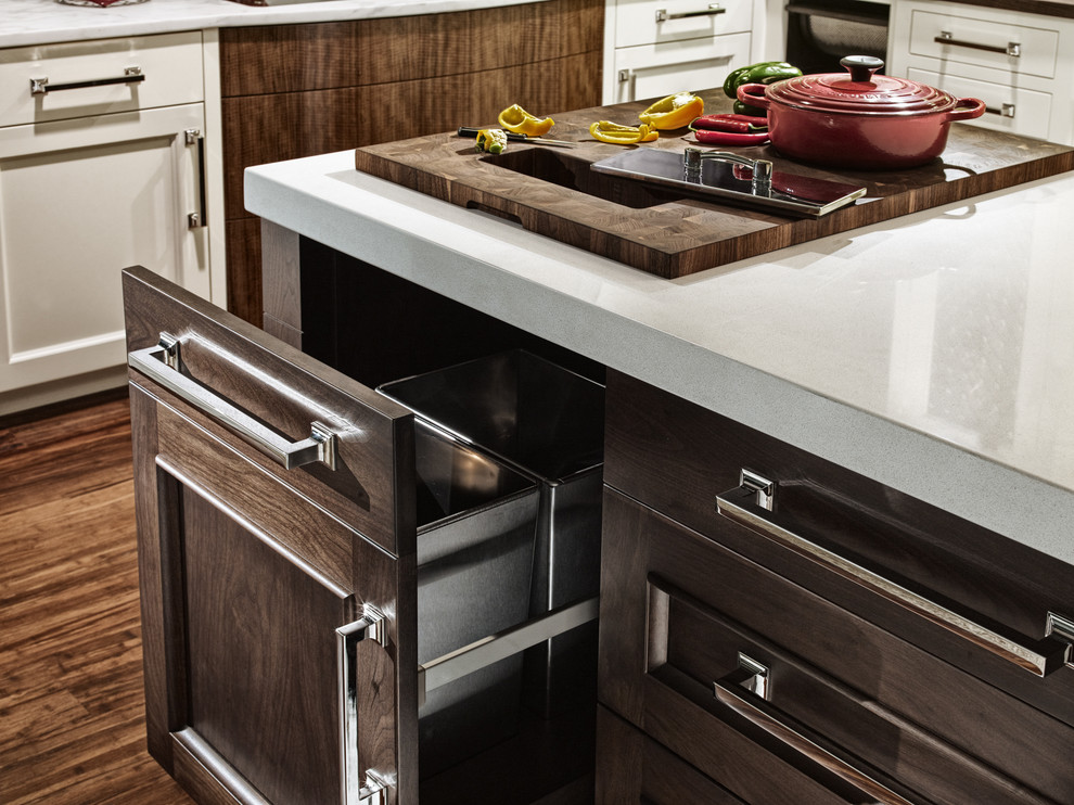 metal trash cans Kitchen Eclectic with available at North Shore Magazine's Read Carrera marble backsplash Custom Cabinetry high