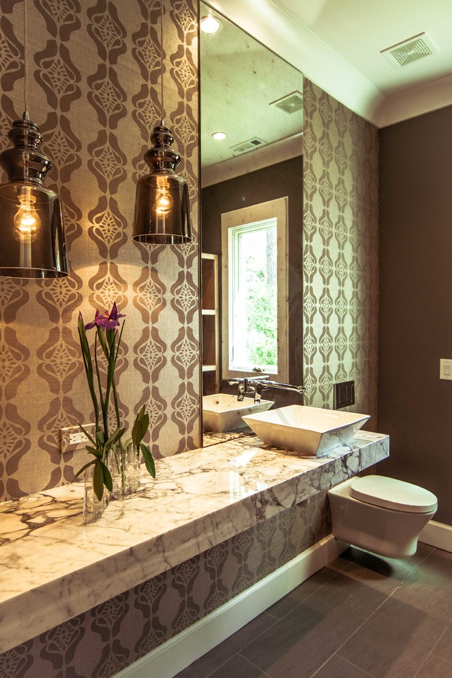 Mi T M Pressure Washer Powder Room Contemporary with Bathroom Flooring Bathroom Sinks Brown Bathroom Contemporary Bathroom Floating Toilet Floral Wallpaper