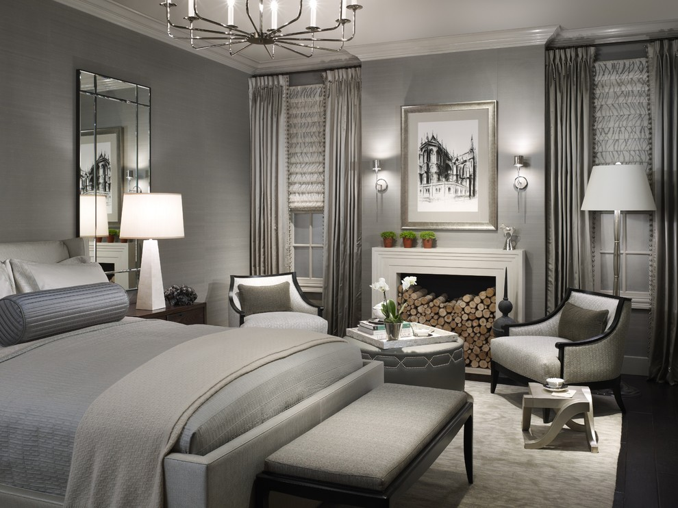 Michael Amini Bedroom Transitional with Area Rug Bed Pillows Beveled Mirror Crown Molding Curtains Dark Floor Drapes