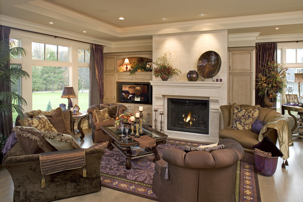 Michael Amini Furniture Living Room Traditional with Built in Cabinets Crown Molding Fireplace Fireplace Mantel Glass Coffee Table Picture Window