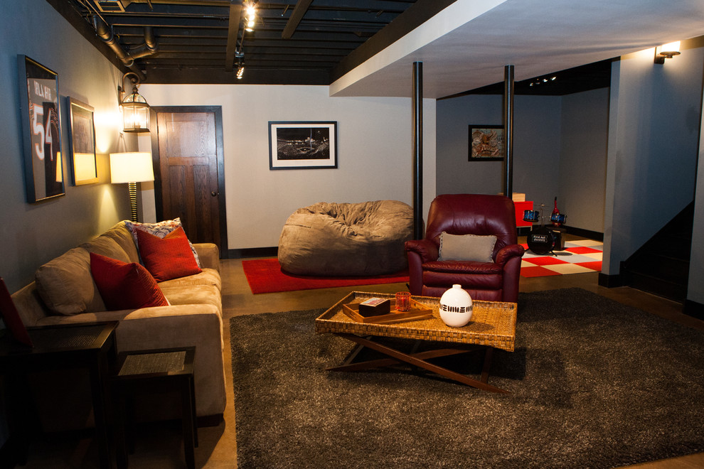 Microfiber Couch Basement Transitional with Area Rug Bean Bag Chair Beige Couch Beige Sofa Black and White