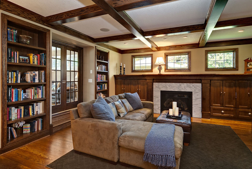 microfiber couch Family Room Traditional with area rug bookcase bookshelves built in shelves coffered ceiling decorative pillows divided