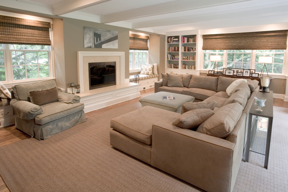 Microfiber Couch Living Room Traditional with Alcove Bench Area Rug Bookshelf Built in Ceiling Beam Fireplace Microfiber Microfiber Couch
