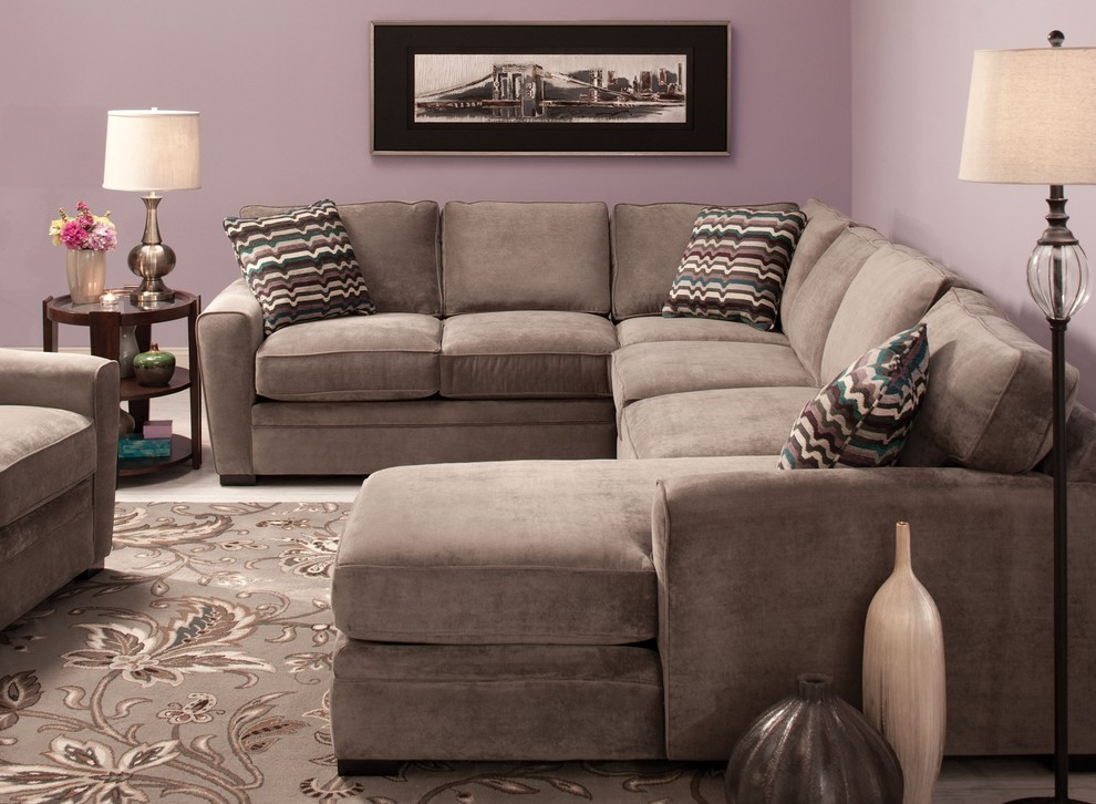Microfiber Sectional Sofa Living Room Contemporary with None