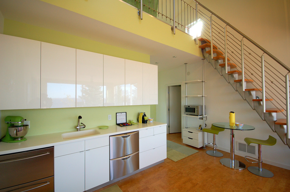 microwave carts Kitchen Contemporary with accent color airy bright chartreuse walls clerestory windows compact contemporary cork cork